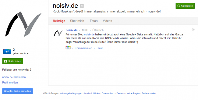 In eigener Sache: noisiv.de jetzt auch auf Google+