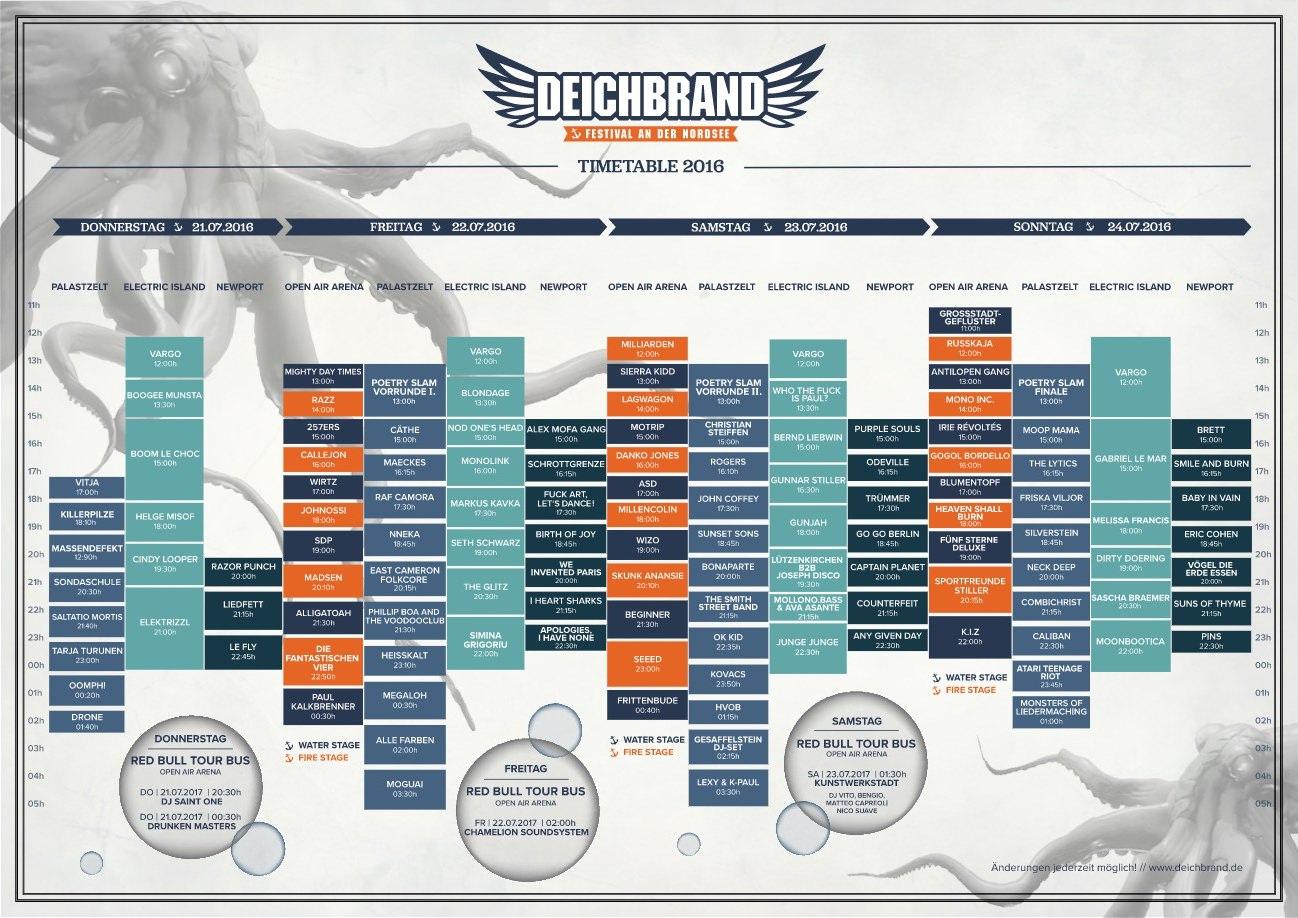 Deichbrand 2016 Timetable